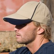 Result - Heavy Brushed Cotton Cap With Scallop Peak & Contrast Trim